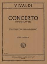 Concerto D major RV 512 -2 Violins piano VIVALDI laflutedepan.com