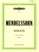 MENDELSSOHN - Sonata f minor op. 4 - Sheet Music - di-arezzo.co.uk