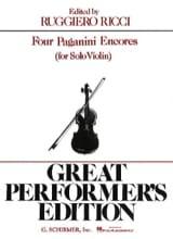 4 Paganini Encores PAGANINI Partition Violon - laflutedepan