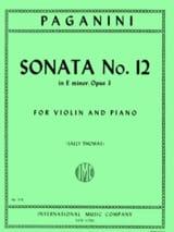 Niccolò Paganini - Sonata n° 12 in E minor, op. 3 - Partition - di-arezzo.fr