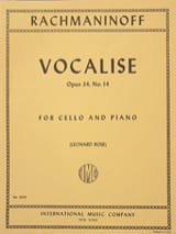 RACHMANINOV - Vocalise op. 34 n ° 14 - Cello - Sheet Music - di-arezzo.com