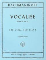 RACHMANINOV - Vocalise op. 34 n° 14 - Viola - Partition - di-arezzo.fr