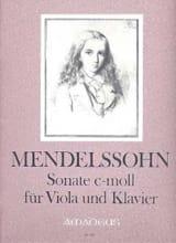 MENDELSSOHN - Sonate c-moll - Viola - Partition - di-arezzo.fr