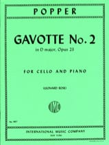 Gavotte n° 2 in D major op. 23 David Popper Partition laflutedepan.com