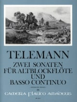 Zwei Sonaten - Altblockflöte u. Bc TELEMANN Partition laflutedepan.com
