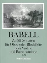 William Babell - 12 Sonates Volume 1 - 1 à 3 - Hautbois et Bc - Partition - di-arezzo.fr