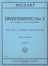 Divertimento n° 5 KV 439b in C major - Parts MOZART laflutedepan
