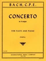 Carl Philipp Emanuel Bach - Concerto A major – Flûte piano - Partition - di-arezzo.fr