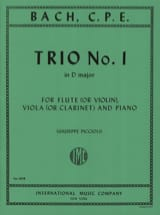 Carl Philipp Emanuel Bach - Trio n°1 D major - Flute violin viola clarinet piano - Partition - di-arezzo.fr