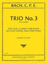 Carl Philipp Emanuel Bach - Trio n° 3 G major - Flute violin clarinet viola piano - Partition - di-arezzo.fr