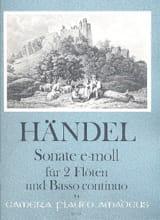 Sonate e-moll - 2 Flûtes et Bc HAENDEL Partition laflutedepan.com
