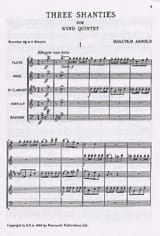 Malcolm Arnold - 3 Shanties for Wind Quintet - Score - Sheet Music - di-arezzo.co.uk