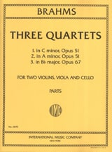 BRAHMS - 3 Quartets (op. 51 n° 1-2, op. 67) – Parts - Partition - di-arezzo.fr