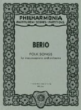 Luciano Berio - Folk Songs - mezzosoprano and orchestra 1973 - Score - Partition - di-arezzo.fr