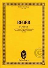 Max Reger - Streichquartett fis-moll, op. 121 –Partitur - Partition - di-arezzo.fr