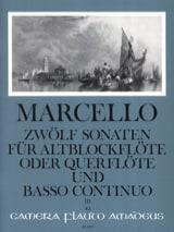 Benedetto Marcello - 12 Sonaten op. 2 - Bd. 3 – Altblockflöte u. Bc - Partition - di-arezzo.fr