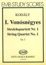 Zoltan Kodaly - Quatuor à cordes n° 1 op. 2 – Conducteur - Partition - di-arezzo.fr