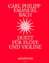 Carl Philipp Emanuel Bach - Duett - Flöte und Violine - Partition - di-arezzo.fr