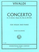 Concerto Violon la mineur, op. 3 n° 6 RV 356 VIVALDI laflutedepan.com