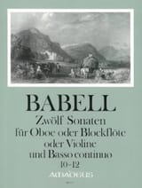 William Babell - 12 Sonates Volume 4 - 10 A 12 - Hautbois et Bc - Partition - di-arezzo.fr