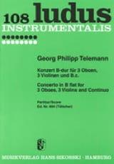 Georg Philipp Telemann - Konzert B-Dur für 3 Oboen, 3 Violinen , BC – Partitur - Partition - di-arezzo.fr