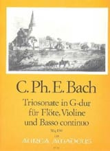 Carl Philipp Emanuel Bach - Triosonate G-Dur Wq 150 -Flöte Violine u. Bc - Partition - di-arezzo.fr