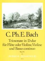 Carl Philipp Emanuel Bach - Triosonate D-Dur (Wq 151) -Flöte (o. Violine) Violine u. Bc - Partition - di-arezzo.fr