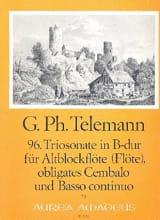 Georg Philipp Telemann - Triosonate Nr. 96 in B-Dur –Alblockflöte (Flöte) obl. Cembalo u. Bc - Partition - di-arezzo.fr