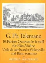 TELEMANN - Pariser Quartett Nr. 10 h-moll -Flöte Violine Viola da gamba BC - Partition - di-arezzo.fr