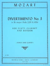 Divertimento n° 3 KV 439c in Bb major - Parts MOZART laflutedepan.com