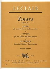 Jean-Marie Leclair - Sonate F-Dur op. 4 Nr. 4 –2 Violine u. Bc - Partition - di-arezzo.fr