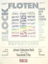 Johann Sebastian Bach - Triosonate F-Dur –2 Blockflöten BC - Partition - di-arezzo.fr