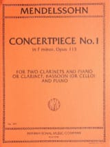 Bartholdy Felix Mendelssohn - Concertpiece N° 1 Op. 113 –2 Clarinettes Piano - Partition - di-arezzo.fr