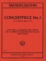 MENDELSSOHN - Concertpiece N° 1 Op. 113 -2 Clarinettes Piano - Partition - di-arezzo.fr