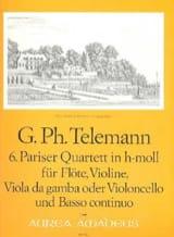 TELEMANN - Pariser Quartett Nr. 6 h-moll -Flöte Violine Viola da gamba BC - Partition - di-arezzo.fr