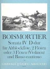 Joseph Bodin de Boismortier - Sonata Nr. 4 D-Dur–Altblockflöte 2 Flöten u. BC - Partition - di-arezzo.fr
