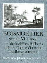 Joseph Bodin de Boismortier - Sonata Nr. 6 a-moll – Altblockflöte 2 Flöten u. Bc - Partition - di-arezzo.fr