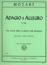 Adagio et Allegro, Kv 594 - Flûte-Hautbois-Clarinette-Basson - laflutedepan.com