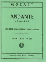 MOZART - Andante F major KV 616 - Flute oboe clarinet bassoon - Score + parts - Partition - di-arezzo.fr