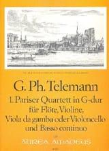TELEMANN - Pariser Quartett Nr. 1 G-Dur -Flöte Violine Viola da gamba BC - Partition - di-arezzo.fr