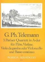 TELEMANN - Pariser Quartett Nr. 3 A-Dur -Flöte Violine Viola da gamba BC - Partition - di-arezzo.fr