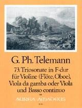 Georg Philipp Telemann - Triosonate Nr. 73 in F-Dur –Violine Viola Bc - Partition - di-arezzo.fr