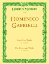 Oeuvres complètes pour violoncelle Domenico Gabrielli laflutedepan.com