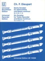 Charles François Dieupart - 6 Sonaten für Altblockflöte u. Bc - Bd. 3 - Partition - di-arezzo.fr