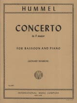 HUMMEL - Concerto in F major -Bassoon piano - Partition - di-arezzo.fr
