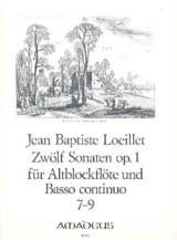 de Gant Jean Baptiste Loeillet - 12 Sonaten op. 1 - No. 7-9 - Altblockflöte u. bc - Partitura - di-arezzo.es