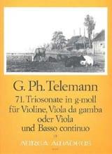 Georg Philipp Telemann - Triosonate Nr. 71 in g-moll –Violine Viola Bc - Partition - di-arezzo.fr