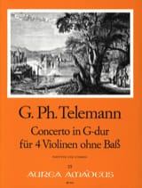 TELEMANN - Concerto in G Major Solo Violinen Ohne Bass Twv40: 201 - Sheet Music - di-arezzo.com