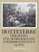 Jacques Martin Hotteterre - 4 Suiten, op. 5 - Band 1 (n° 1-2) - Alblockflöte u. Bc - Partition - di-arezzo.fr