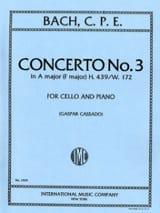 Carl Philipp Emanuel Bach - Concerto n° 3 en La majeur (transcr. en Fa M) - Partition - di-arezzo.fr